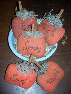Primitive Stitchery 3 Wordy Pumpkin Bowl Fillers. $6.00, via Etsy.