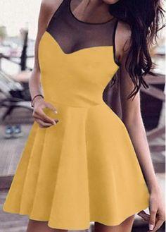 Yellow Sleeveless Mesh Panel A Line Dress with cheap wholesale price, buy Yellow Sleeveless Mesh Panel A Line Dress at Rotita.com !