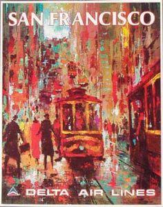 Delta Airlines Original Vintage Travel Poster ..San Francisco