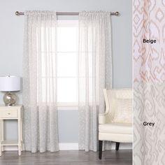 """Grey Ikat Printed Sheer Rod Pocket Curtain Set- 84"""" L"""