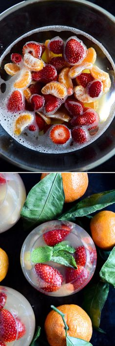 Strawberry Satsuma Champagne Sangria by @howsweeteats I howsweeteats.com Party Drinks, Wine Drinks, Beverage, Summertime Drinks, Summer Drinks, Drinks Alcohol Recipes, Cocktail Recipes, Champagne Sangria, Good Enough To Eat