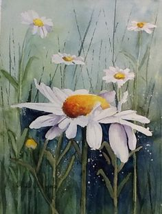"Watercolor. Original painting "" Sweet Daisy"" . Watercolorbyhelen@gmail.com"