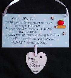 Personalised Best Headteacher Gift Plaque, Thank you gift, Principal, Leaving, School, End of Year, Headmistress, Headmaster, Custom Sign