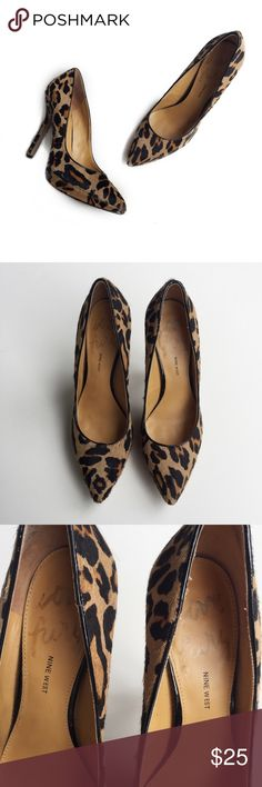 """• nine west love fury calf hair heels • in great condition. minor signs of wear/markings  on calf hair as shown in pictures. interior has slight wear from use. overall they still look great!  heel height is just over 4.5"""". fit is true to size in my opinion. Nine West Shoes Heels"""