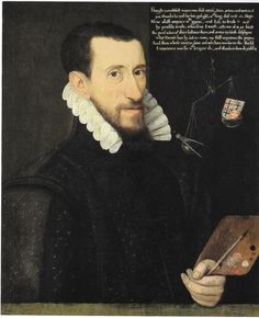 """Remarkable self-portrait of Elizabethan painter, George Gower, dated 1579. private collection -- here scanned from the NPG 2013 ex. cat, """"Elizabeth I and her people"""" by Tarnya Cooper."""