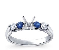 Bella Sapphire and Diamond Engagement Ring in 18k White Gold (1/5 ct. tw.)