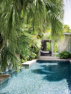 The view across the pool to the master bedroom   archdigest.com