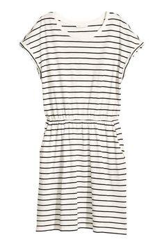 Трикотажное платье - Белый/Полоска - Женщины | H&M RU 1
