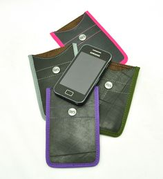 Smartphone & iPhone sleeve from recycles inner tube and a nice colour accent