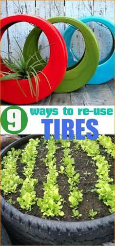 9 ways to re-use tires.  Tires aren't just for vehicles anymore.  Craft, decorate and plant using all different shapes of tires.  Home improvements and projects using tires.