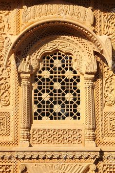 Window Of Beautiful Ornamental Building In Jaisalmer India Stock Photo, Picture And Royalty Free Image. Mughal Architecture, Temple Architecture, Historical Architecture, Architecture Details, Ancient Architecture, Building Sketch, Cool Doors, Jaisalmer, Second Empire