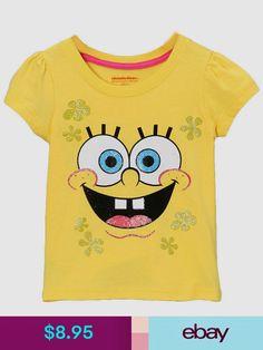 8db8c122c Toddler Girls T-Shirt Nickelodeon Spongebob Tee Yellow Top Short Sleeve Size