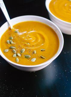 Healthy and light, creamy vegan pumpkin soup - cookieandkate.com