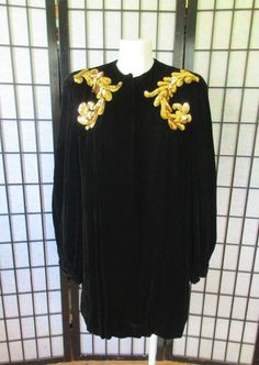 Vintage 1940s Evening Jacket Black Velvet and Gold by girlgal6
