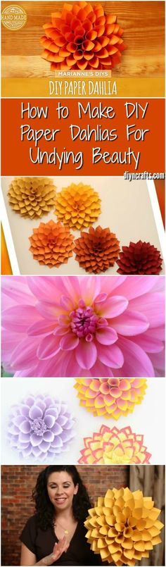 How to Make DIY Paper Dahlias For Undying Beauty - Really easy step by step video tutorial helps you to do this easy home decorating item! via (diy spring wreath step by step) How To Make Paper Flowers, Giant Paper Flowers, Fabric Flowers, Paper Dahlia, Paper Flower Wall, Diy Paper, Paper Crafts, Diy Crafts, How To Make Diy