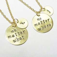 best friend necklace gold necklace no matter where necklace no matter what charm initial necklace friendship necklace long distance 2 by RobertaValle on Etsy Ldr Gifts For Him, Bff Gifts, Best Friend Gifts, Cute Gifts, Gifts For Friends, Best Friends, Bestfriend Gifts For Christmas, Friends Girls, Best Friend Necklaces