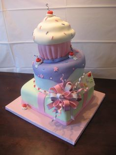 """Cupcake Birthday Cake - For my cousins daughter """"Bella""""  Inspired from andreassweetcakes"""