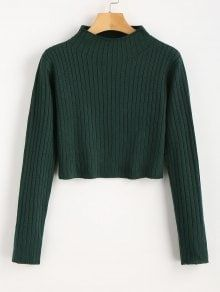 In a solid color hue, this casual cropped pullover features a mock collarline and ribbed detailing throughout, in a thermal knit fabric. Just go with pants for a stylish look. Cropped Pullover, Cropped Sweater, Green Sweater, Teen Fashion Outfits, Trendy Fashion, Fashion Dresses, Punk Fashion, Lolita Fashion, Short Blanc