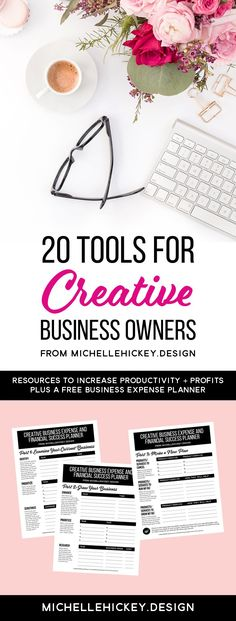 20 tools for creative business owners, running an online business. This list of helpful resources will help increase productivity + profits, while freeing up time so you can focus on the big picture. Includes a 3-page business expense and financial succes