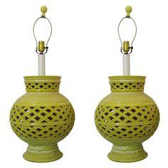 Pair of Yellow Mid Century Lamps with Lattice Motif