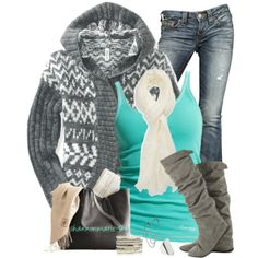 """Gray and Aqua"" by shannonmarie-94 on Polyvore"