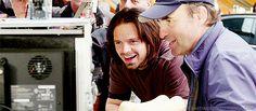 Sebastian Stan + smiling (Captain America: Civil War - Behind the Scenes)