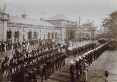 The Imperial Cadet Corps stand outside of the Delhi railway station during the Delhi Durbar in December 1911. The Durbar was held to commemorate the coronation of King George V and Queen Mary