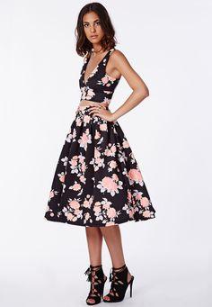 Missguided - Tessa Floral Scuba Midi Skirt