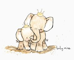 Elephant Print: Baby Mine Nursery Art Print from Original Illustration by Kit Chase. This would be so cute in a baby's room Image Elephant, Elephant Love, Baby Elephant Tattoo, Elephant Family, Tatoo Dog, Baby Elefant, Elephant Nursery Art, Baby Mine, Baby Art