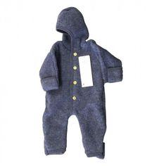 Engel Baby Overall mit Kapuze, blau melange, Gr. 62/68