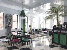 dining rooms, living rooms, mile redd, dine room, emerald, color, black white, hollywood regency, painted floors