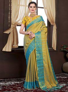 Yellow Silk Festival Wear Saree 119096