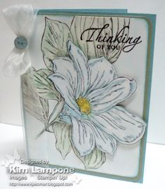 From the Garden Stamps:From the Garden, Sincere Salutations Paper:Whisper White, Mellow Moss, Baja Breeze Ink:Pastels (chalks), VersaMark (sentiment) Accessories:Organza Ribbon, Button Bouquet,  Black Embossing Powder, Corner Rounder Punch, dimensionals
