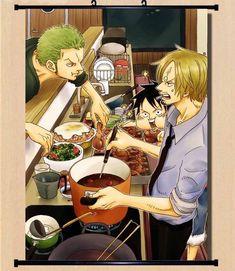 Hot Japan Anime One Piece Luffy Zoro Sanji Wall Scroll Home Decor 2130Cm 006