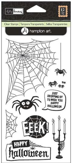This set of clear acrylic stamps is full of tricks and treats! The Halloween Spiders Clear Acrylic Stamps by Kelly Panacci for Hampton Art are easy to use, Halloween Spider, Halloween Crafts, Happy Halloween, Kelly Stamps, Hampton Art, Xmas Wishes, Dmc Floss, Clear Stamps, Trick Or Treat