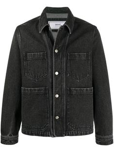 When you lack that Monday Motivation and the will to go to work... Throw this black cotton denim worker jacket from AMI on and you will need to go into the office. Show off a little. Featuring a stonewashed effect, stitched panels, a boxy fit, a pointed collar, a front button fastening, long sleeves, patch pockets, a branded rear patch and button cuffs. Elegantes Business Outfit, Business Outfits, Color Negra, Going To Work, Monday Motivation, Front Button, Black Cotton, Cuffs, Women Wear