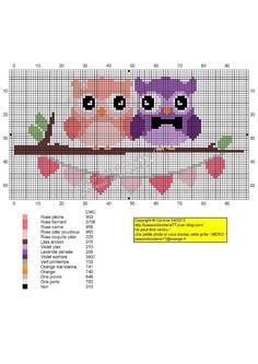 Le Mariage de Chouetty (Married Owls), designed by Le blog de Passionbroderie77 blogger, Corinne Thulmeaux. Plus