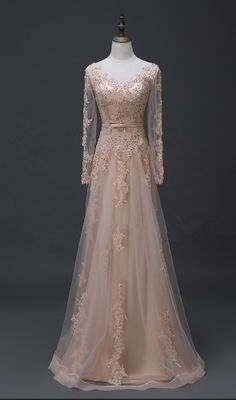 Charming Prom Dress, Elegant Prom Dresses, Long Sleeve