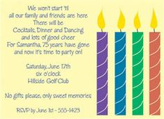 "Candle Celebration  Party Invitation  6 3/4"" x 4 7/8""  Full Color as shown  $11.00 for 8 Invitations"