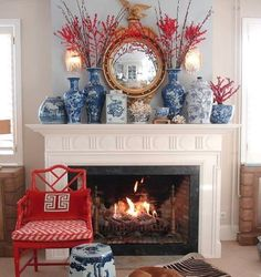 "Love the blue and red! the chinoiserie collective (@thechinoiseriecollective) on Instagram: ""Love mixing my favorite blue and white with a pop of color. This fireplace mantel by…"""