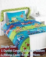 Boys Car Trucks Road Works Single Duvet Cover Quilt Bed Set Bedding Blue Green
