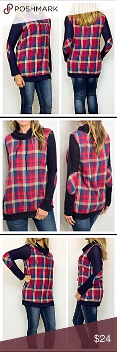"""Plaid Cowl Neck Sweatshirt Tunic Top S M L Love this casual day plaid cowl neck tunic sweatshirt top...especially the elbow patches. 100% cotton in navy blue, red, white & yellow. Add you favorite leggings or jeans to complete your cute, comfy casual day look.   Small Bust 32-34"""" Length 27"""" Medium Bust  36-38"""" Length 28"""" Large Bust 38-40""""  Length 29"""" Tops Sweatshirts & Hoodies"""