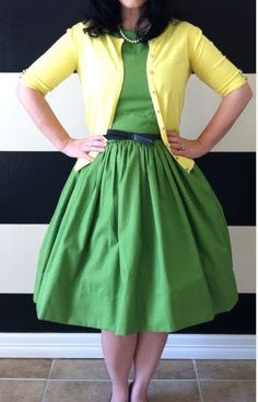 green and yellow, love the dress and color combo!