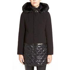 Elie Tahari 'Sandra' Hooded Mixed Media Coat with Genuine Rabbit Fur &... (2.725 DKK) ❤ liked on Polyvore featuring outerwear, coats, black, black hooded coat, elie tahari coat, long sleeve coat, black duffle coat and black coat