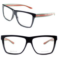 Gucci Eyeglasses GG 1008 51N 55mm Shiny Black-Red Green / Demo Lens #Gucci