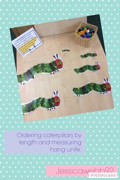Ordering the caterpillars by length and using uni fix bricks to measure them. EYFS