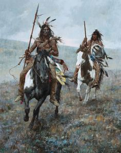 Blackfoot Horsebacks Oil on Board by Howard Terpning kp