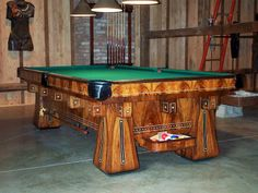 Kling Pool Table - There are various types of pool tables. There would be A pool table that is standard 96 inches long. Diy Pool Table, Custom Pool Tables, Antique Pool Tables, Pool Table Accessories, Woodworking, Table Decorations, Antiques, Game Rooms, Table Designs