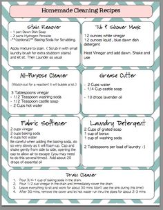 FREE printable of homemade cleaner recipes