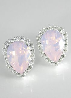 For the bridesmaids that wear petal/plush pink dresses. Pink opal earrings Crystal earrings Swarovski.